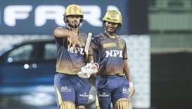 Fifties from Nitish Rana (left) and Rahul Tripathi set up KKRs' 10-run win over SRH in Chennai yeste