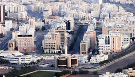 An aerial view shows the Central Business District (Ruwi) in the Omani capital Muscat