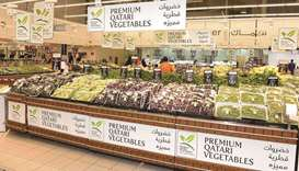 Premium Qatari vegetables on display at an outlet.