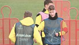 Borussia Dortmund's Marco Reus attends a training session yesterday, on the eve of the UEFA Champion