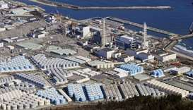 An aerial view shows the storage tanks for treated water at the tsunami-crippled Fukushima Daiichi n