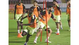 Al Duhail players train in Jeddah, on the eve of their AFC Champions League Group C match against an
