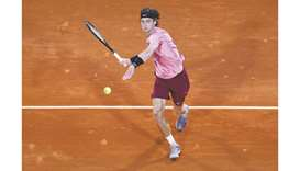 Russia's Andrey Rublev in action during his Monte Carlo Masters quarter-final against Spain's Rafael