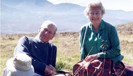 Britain's Queen Elizabeth II and her husband Britain's Prince Philip, the Duke of Edinburgh, at the