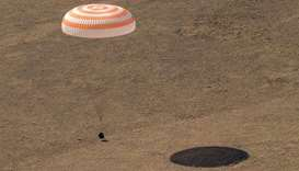 Soyuz MS-17 spacecraft landing in a remote area near the town of Zhezkazgan, Kazakhstan with Expedit