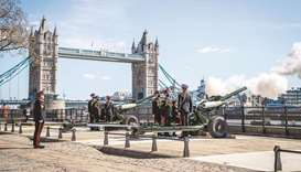 A view of the gun salute at the Tower of London, where a single round was fired followed by another