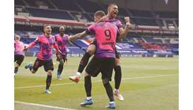 Paris Saint-Germain's Mauro Icardi celebrates his goal with teammate Kylian Mbappe (right) during th