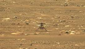 This Nasa photo obtained yesterday shows the agency's Ingenuity Mars Helicopter, right after it succ