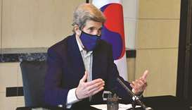 Kerry, seen here during a press conference in Seoul, is the first official from Biden's administrati