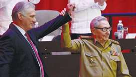 Diaz-Canel and Castro are seen during the closing session of the VIII Congress of the Communist Part