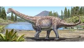 An artist's impression of a plant-eating dinosaur whose remains scientists discovered in the Atacama
