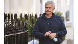 Jose Mourinho arrives at his home in London on Monday after being sacked by Tottenham Hotspur. (Reut