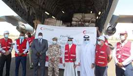 Aboard aircraft of the Qatar Amiri Air Force (QAAF), 62 tonnes of relief items were delivered under