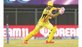 Chennai Super Kings' Faf du Plessis plays a shot during the Indian Premier League match against Kolk