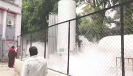 An oxygen tanker leaks at hospital premises where Covid-19 patients died due to lack of oxygen in Na