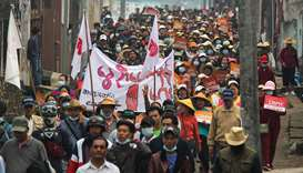 Protesters taking part in a demonstration against the military coup in Mogok town, north of Mandalay