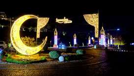 Ornamental lights as part of Ramadan preparations at Katara-The Cultural Village. PICTURES: Thajudhe