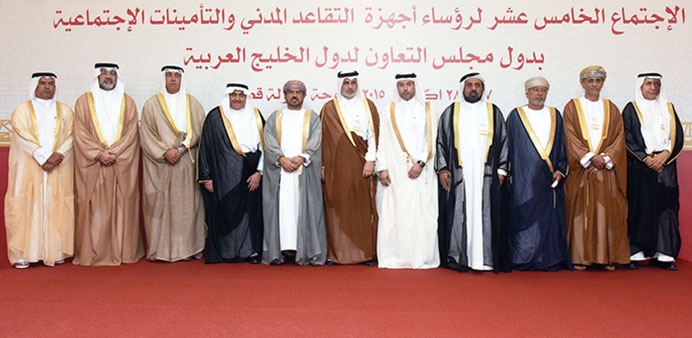Heads of GCC civil retirement and social insurance authorities at their meeting in Doha yesterday.