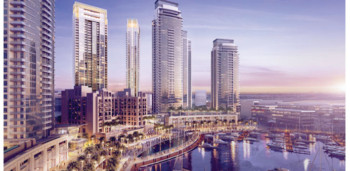 Creekside 18 residences view in the island district of Dubai Creek Harbour.