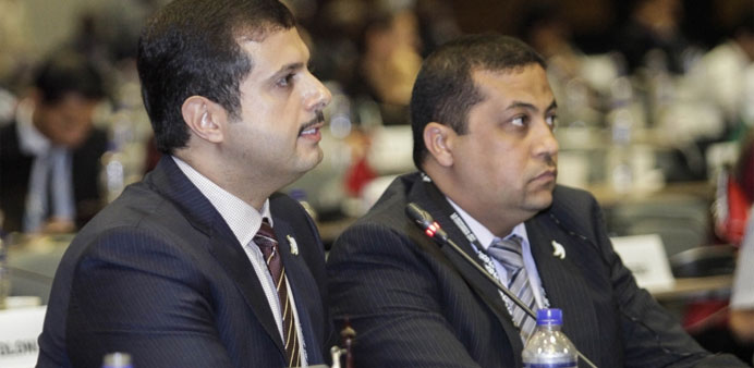 Saif al-Kuwari speaks at the UNWTO General Assembly held in the Colombian city of Medellin.