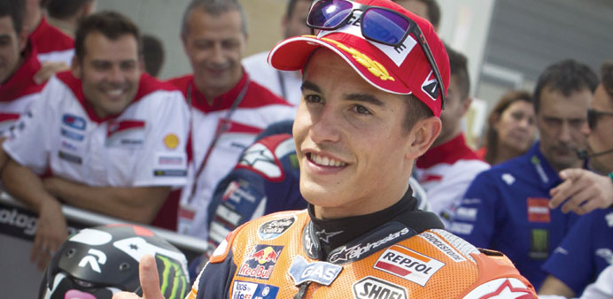 Marquez on pole with lap record at Aragon