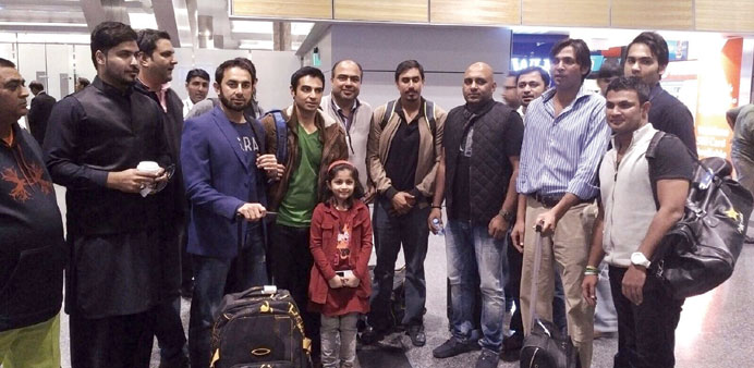 The Pakistan Stars on their arrival at the Hamad International Airport yesterday.