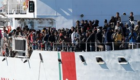 Migrants rescued off Sicily by the Italian coastguards