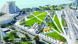 An aerial view of the park located adjacent to Sheraton Grand Doha Resort & Convention Hotel
