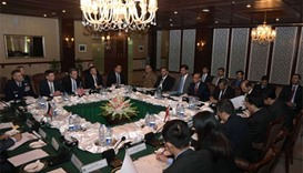 Pakistani Foreign Secretary Aizaz Ahmad Chaudhry (7th R) chairs the fifth round of four-way peace ta