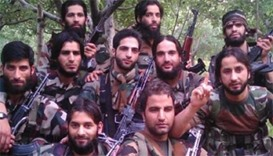 pictures of Kashmir militant group on social media