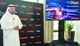 Ooredoo Qatar CEO Waleed al-Sayed introduces the country's first 1Gbps fibre plan. PICTURE: Noushad