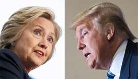 Democratic candidate Hillary Clinton(L) and Republican challenger Donald Trump