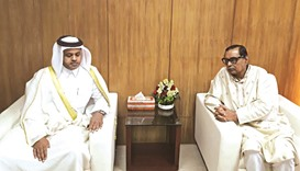 Civil Aviation and Tourism Minister Rashed Khan Menon hosting Qatar's ambassador to Bangladesh, Ahme