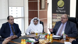 Cobus Lombard (right), together with other Al Meera officials, at a press conference.