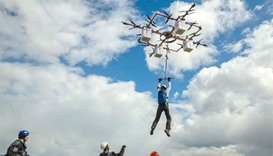 Latvian daredevil in 'drone-diving' world first