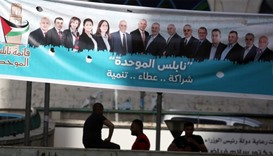 campaign posters displaying an electoral list ahead of municipal elections in  West Bank