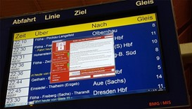 cyberattacks on electronic timetable display at the railway station in Chemnitz, eastern Germany