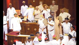 Paper missiles thrown at governor in assembly