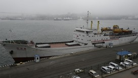 North Korean ferry, Mangyongbong, is docked in the port of the far eastern city of Vladivostok, Russ