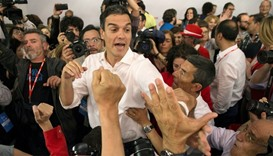 Socialists' Pedro Sanchez celebrates victory with supporters