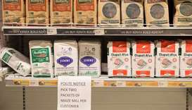 Bags of flour are on display at a supermarket in Nairobi, Kenya