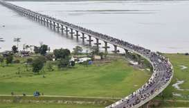 An aerial view of the Dhola-Sadiya bridge