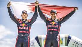 Qatar's Nasser Saleh al-Attiyah (right) and French co-driver Matthieu Baumel