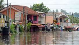 A general view shows the floodwaters in Nagoda in Kalutara district