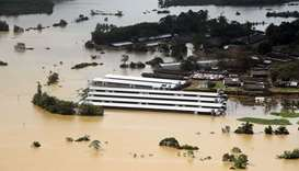 A flooded factory is seen in a village in Matara, Sri Lanka