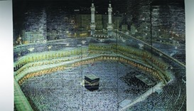 'Holy Masjid of Makkah', an artwork created with more than 600,000 circular paper bits made using a