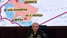 Senior Russian military commander Sergei Rudskoi speaks during a news briefing on the situation in S