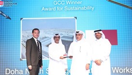 Ashghal officials receive the 'GCC Award for Sustainability' for its Doha North Sewage Treatment Wor