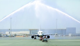 IndiGo's maiden flight welcomed with a traditional water cannon salute at Hamad International Airpor