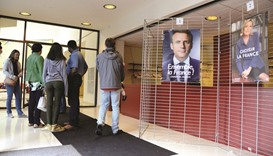 French citizens in the US arrive yesterday to cast their ballots for the French presidential run-off